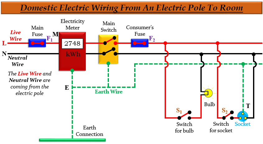 A Draw Labelled Diagram To Show The, Domestic Wiring Diagram Class 10